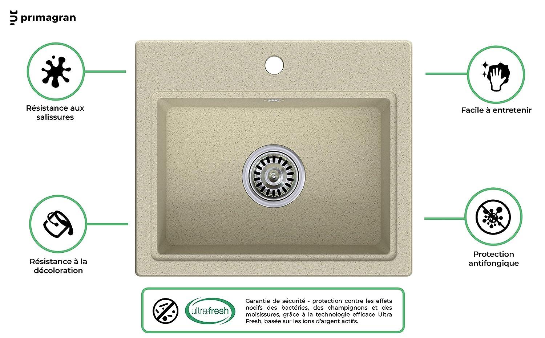 Primagran /Èvier de Cuisine en Granit Ibiza 1 Bac avec un Petit /Égouttoir Encastrable Inculus Siphon Automatique Gain de Place et Trop-Plein