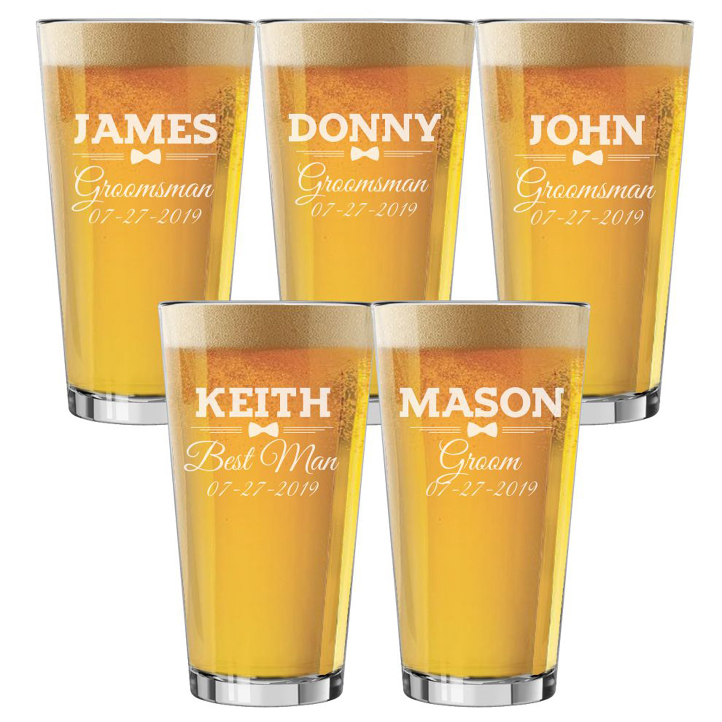 Set of 3, Set of 5, Set of 7 and more Groomsman Wedding Party 16 oz Pint Beer Glasses - Custom Engraved and Personalized for Free - Bow Tie Style (5)
