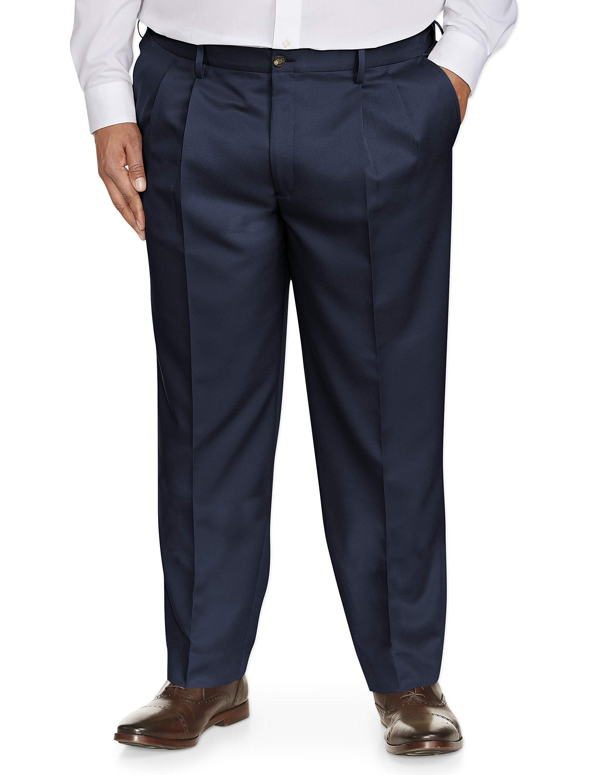 Amazon Essentials Men's Big & Tall Classic-Fit Wrinkle-Resistant Pleated Dress Pant, Navy, 48W x 30L