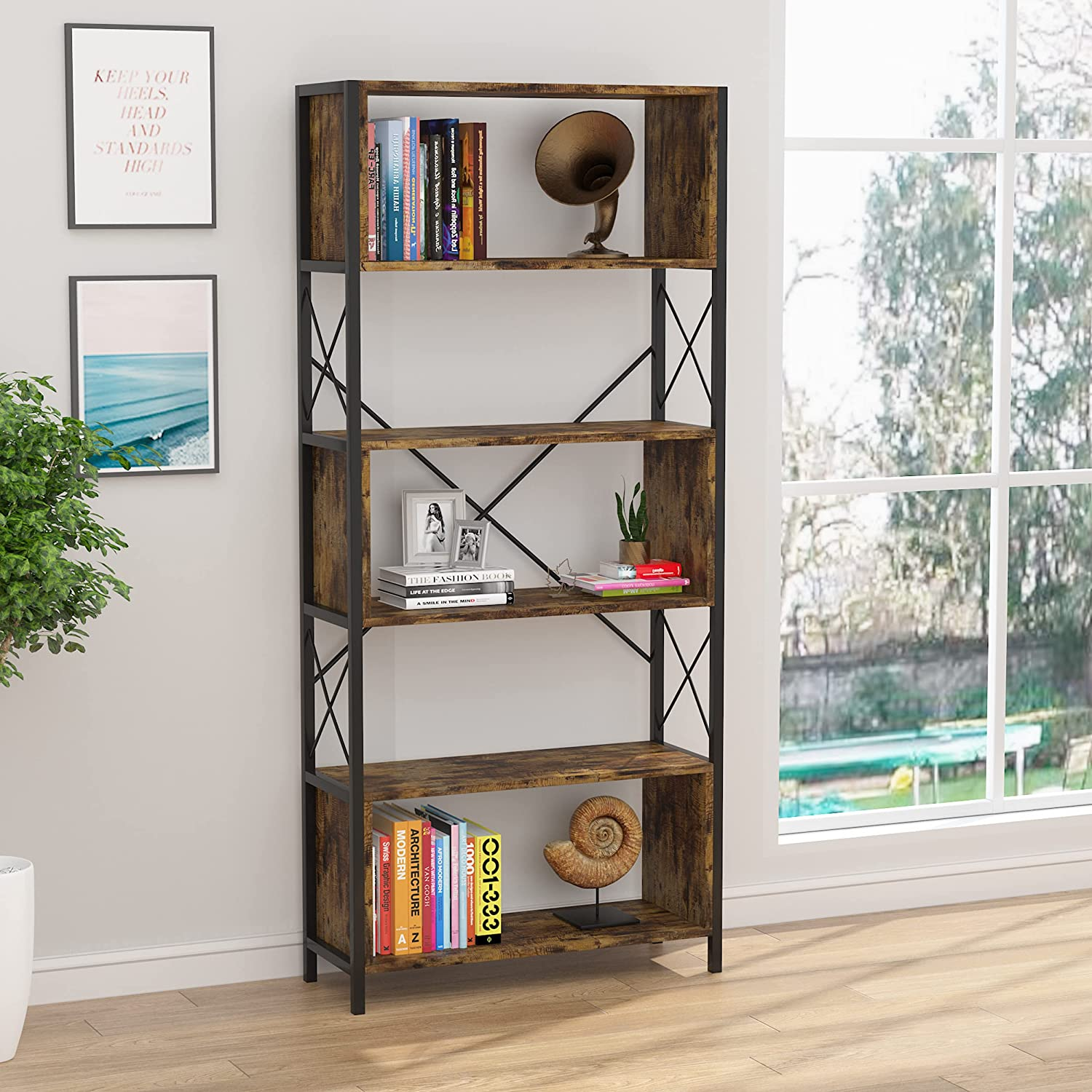 AOUSTHOP 5 Tier Bookshelf, Modern Industrial Bookcase Open Display Shelves with Metal Frame for Home Office Living Room, Retro Brown