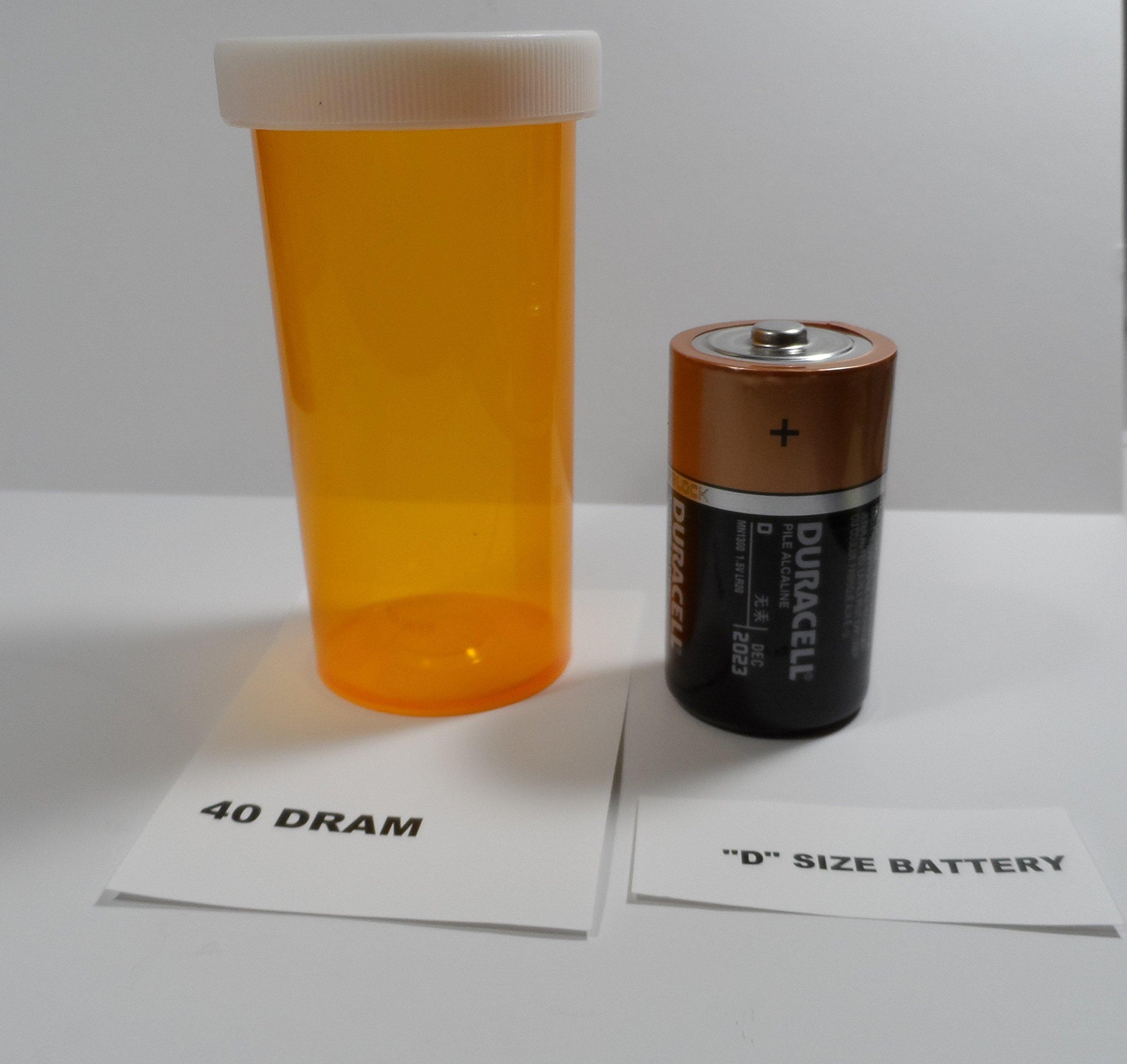 Plastic Prescription Vials/Bottles 25 Pack w/Caps GIANT 40 Dram Size-NEW