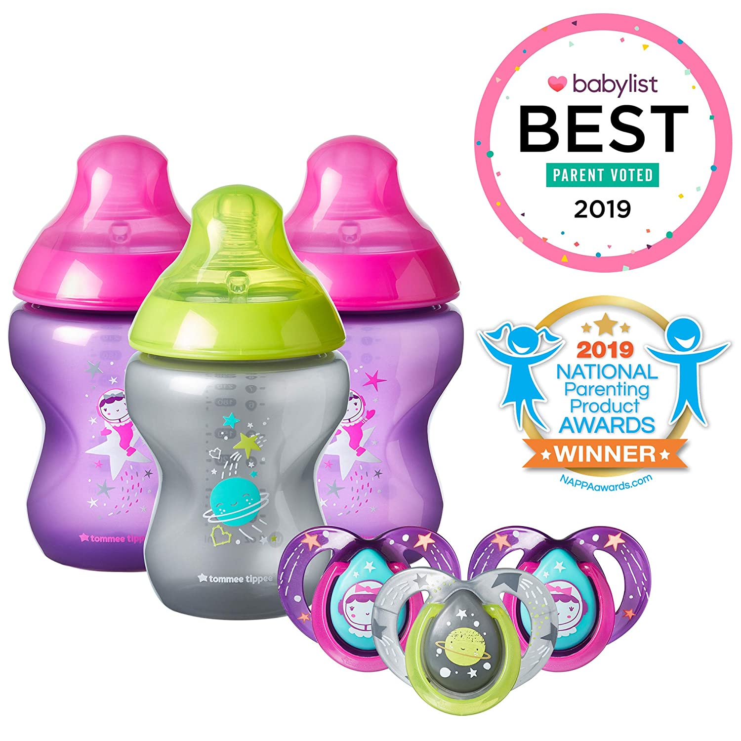 Tommee Tippee Closer to Nature Boldly Go Decorated Gift Set with 6-Piece Baby Bottles 6-18 Month Pacifiers, Girl