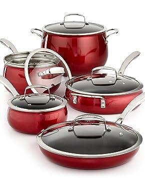 Belgique | alta calidad Home - Batería de cocina (11 piezas, ollas y sartenes) | color rojo: Amazon.es: Hogar