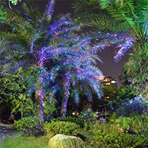 Newest RGB Color Change Firefly Garden Tree and Outdoor Wall Decoration Laser Lights with Rf Remote Control for Decorative Light, Holiday Lighting, Camping (Blue&green&red)