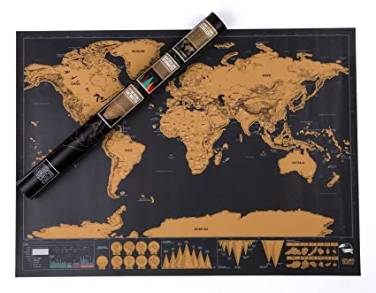 Amazon alexbasic scratch off world map poster travel tracker alexbasic scratch off world map poster travel tracker map scrape off map with detailed landmarks gumiabroncs