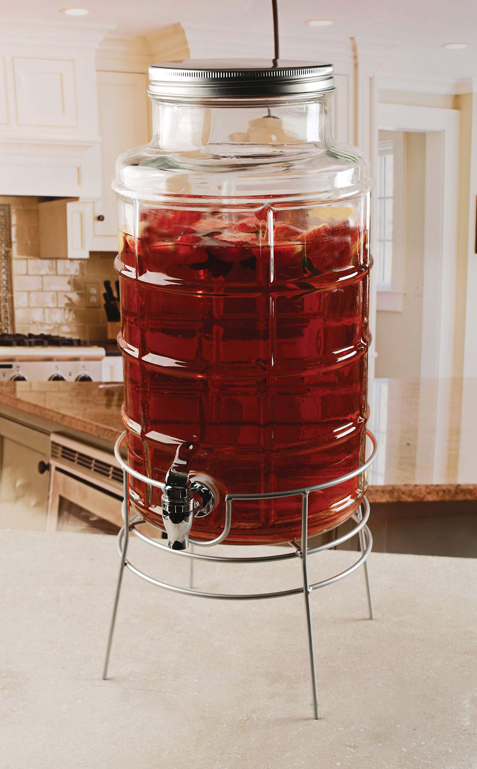 Circleware Newton Creek Glass Beverage Dispenser with Metal Stand and Lid, Entertainment Kitchen Glassware Drink Pitcher for Water, Juice, Wine, Kombucha & Cold Drinks, Huge 2.2 Gallon, Clear by Circleware (Image #2)