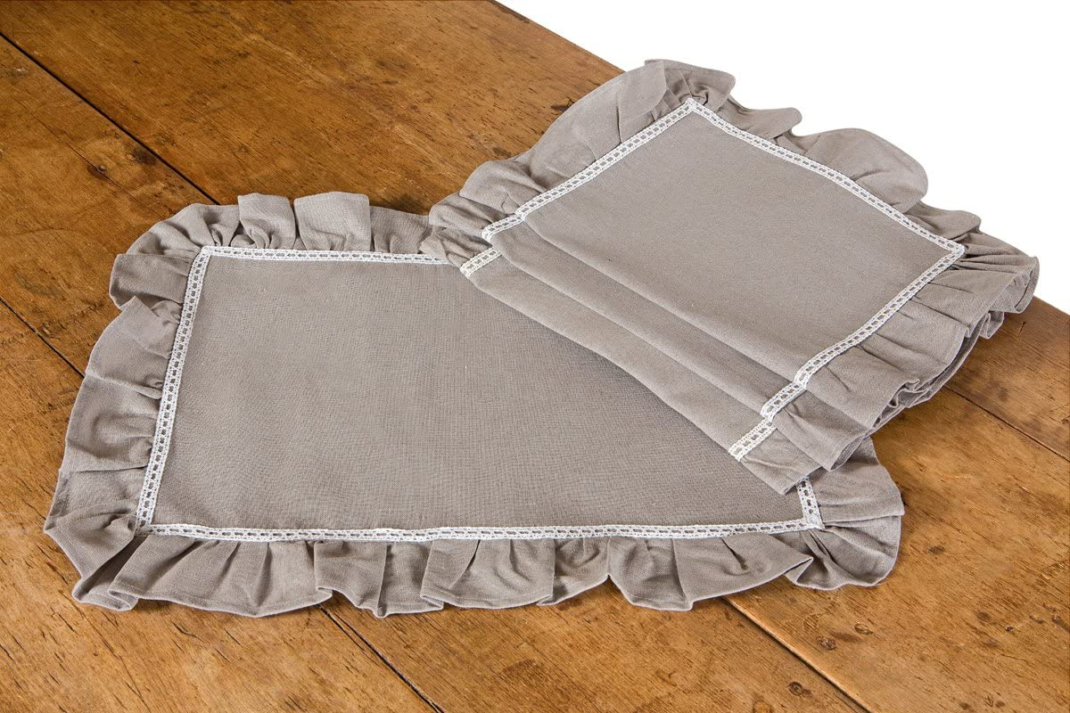 Xia Home Fashions Ruffle Trim Lace Placemat, 14 by 20-Inch, Taupe with White, Set of 4