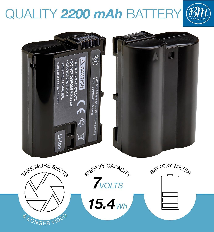 2x batería bundle para Nikon en-el-15 enel 15 en-el15 enel 15 con info chip