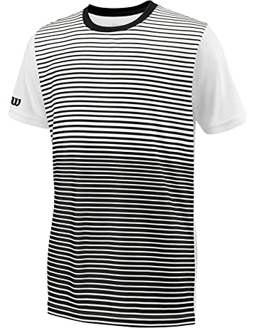 2b334186f5 Wilson Boys' B Team Striped Crew Short Sleeve Tennis T-Shirt