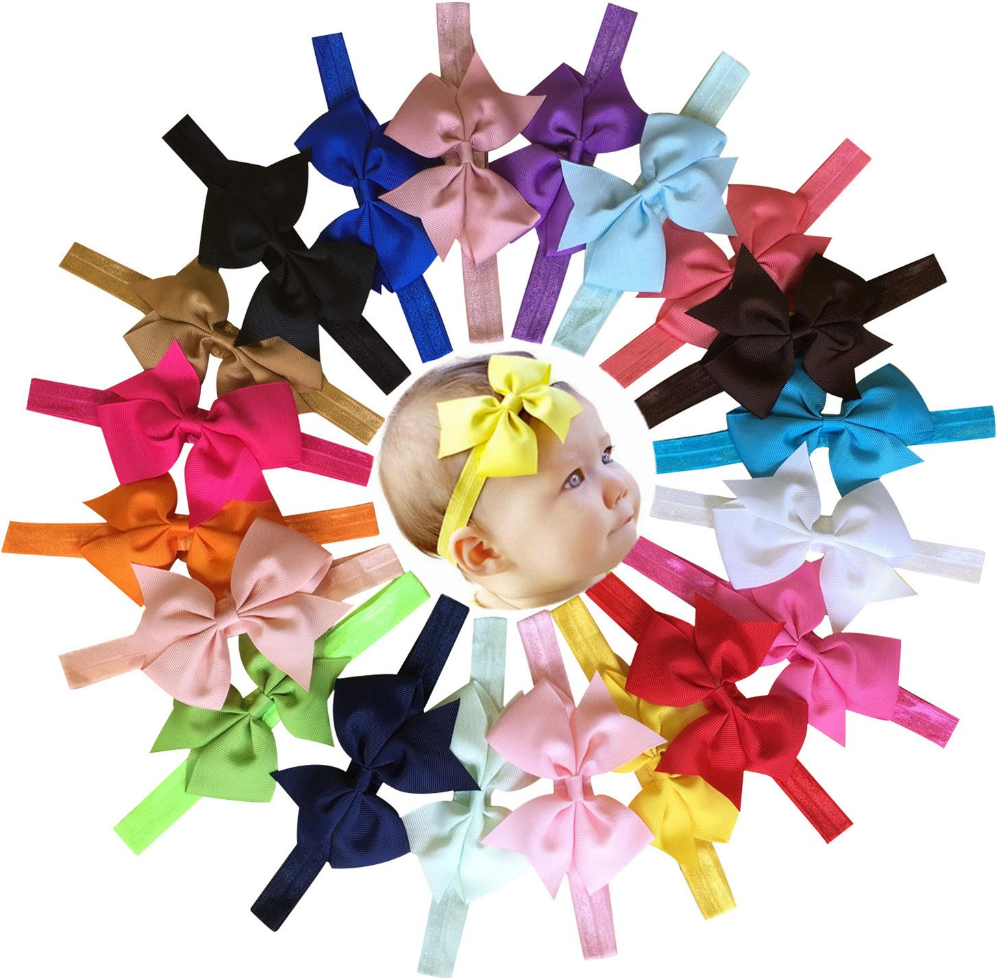 Qandsweet 20pcs Baby Girls Headbands and Forked Tail Bow Photography HD4