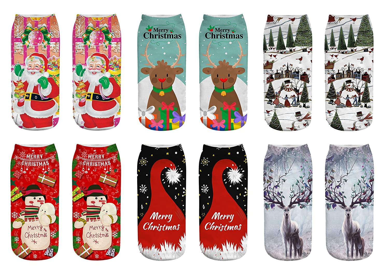 WEILAI SOCKS Women Girls 3D Christmas Halloween Printed Funny Casual Low Cut Socks