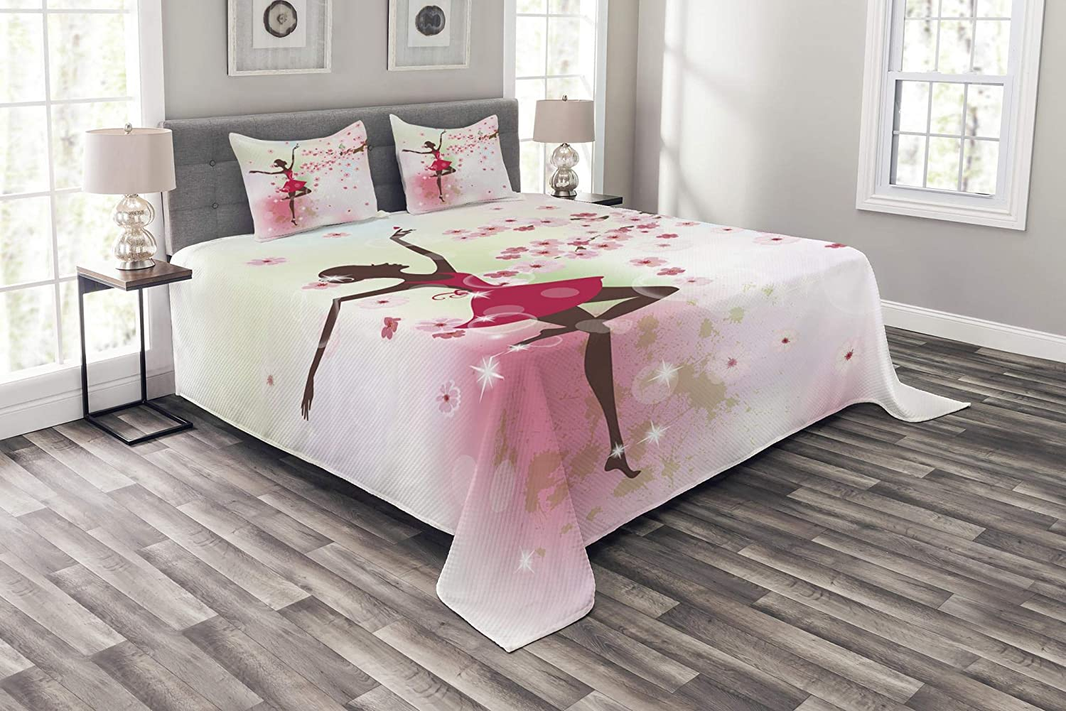 Lunarable Kids Bedspread Set Twin Size, Butterfly Fairy Ballerina Princess Dancer Floral Tree Branch Floral, Decorative Quilted 2 Piece Coverlet Set Pillow Sham, Pale Pink Magenta Dried Rose bed_13063_twin