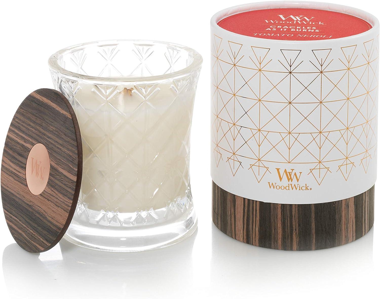 WoodWick Aura Tomato Neroli Scented Candle|Wood Candle Wick 9.7 oz. Glass Jar Candle