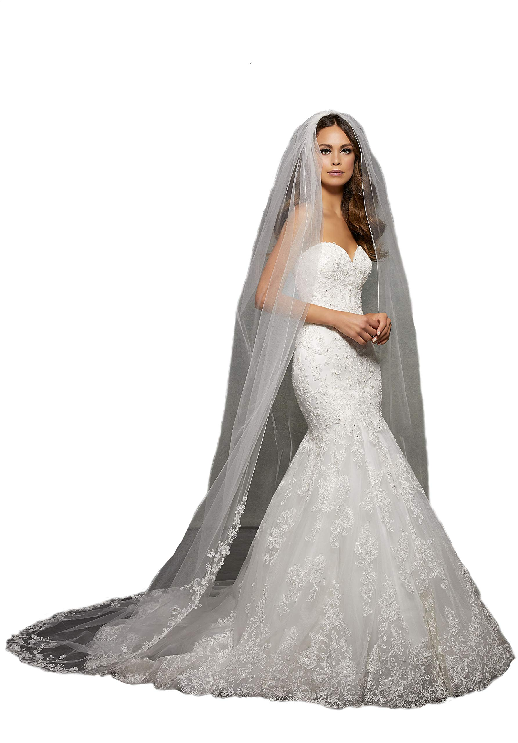 Passat Pale Ivory Single-Tier 3M Cathedral Wedding Bridal Veil with Lace Beaded with Rhinestones VL1054