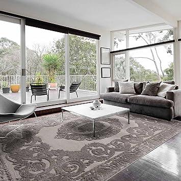 Teppiche Wohnzimmer Beige Grau Kurzflor Mit Medaillon Muster Designer Teppich Hochwertig Vintage Style In