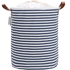 Sea Team 19.7 Inches Large Sized Waterproof Coating Ramie Cotton Fabric Folding Laundry Hamper Bucket Cylindric Burlap Canvas Storage Basket with Stylish Navy Blue & White Stripe Design