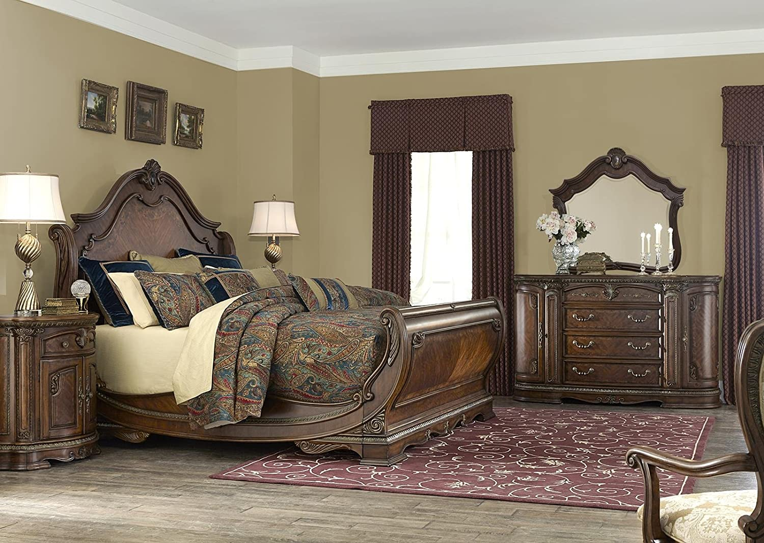 Amazon.com: AICO Bella Veneto Bedroom Set With King Bed, Nightstand,  Dresser And Mirror: Kitchen U0026 Dining