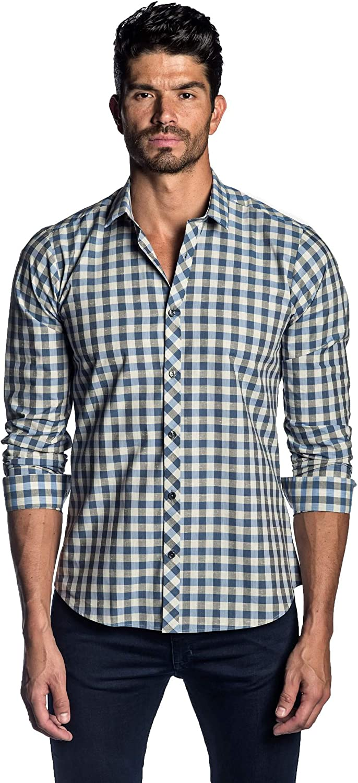 Jared Lang Blue Off-White Check Shirt for Men AH-OT-2074
