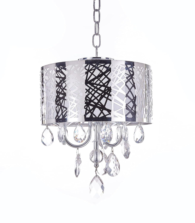 MonaLisa Gallery Crystal Chandeliers Semi Flush Mount Ceilling Light Fixture, MG-143/D-3L W12xH16 Silver