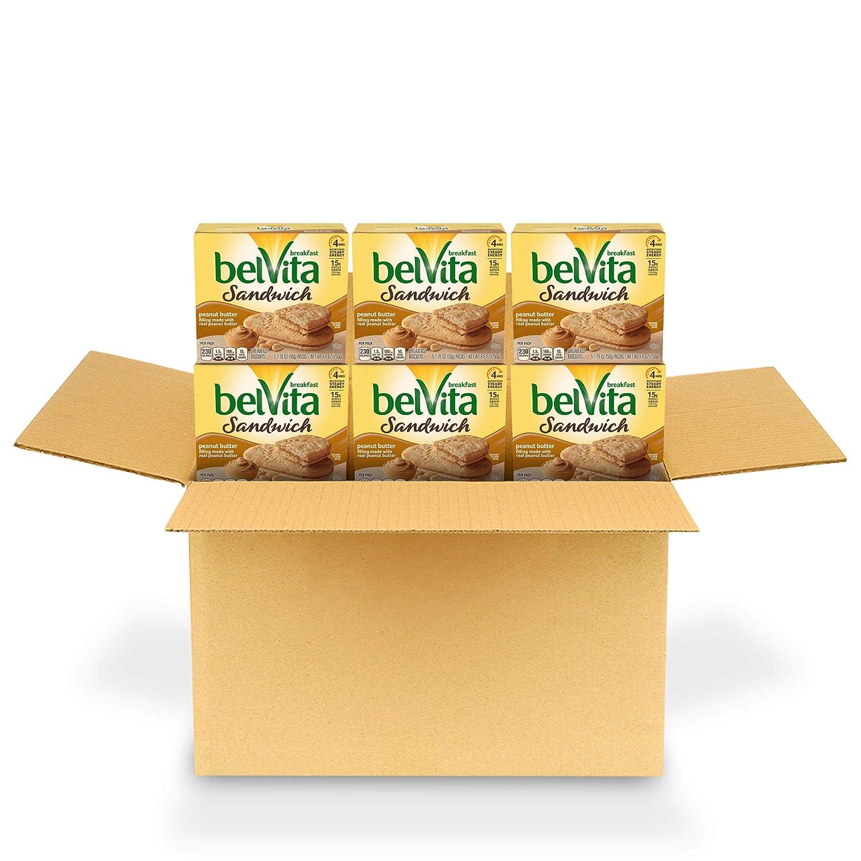 Belvita Sandwich Peanut Butter Breakfast Biscuits, 6 Boxes of 5 Packs (2 Sandwiches Per Pack)