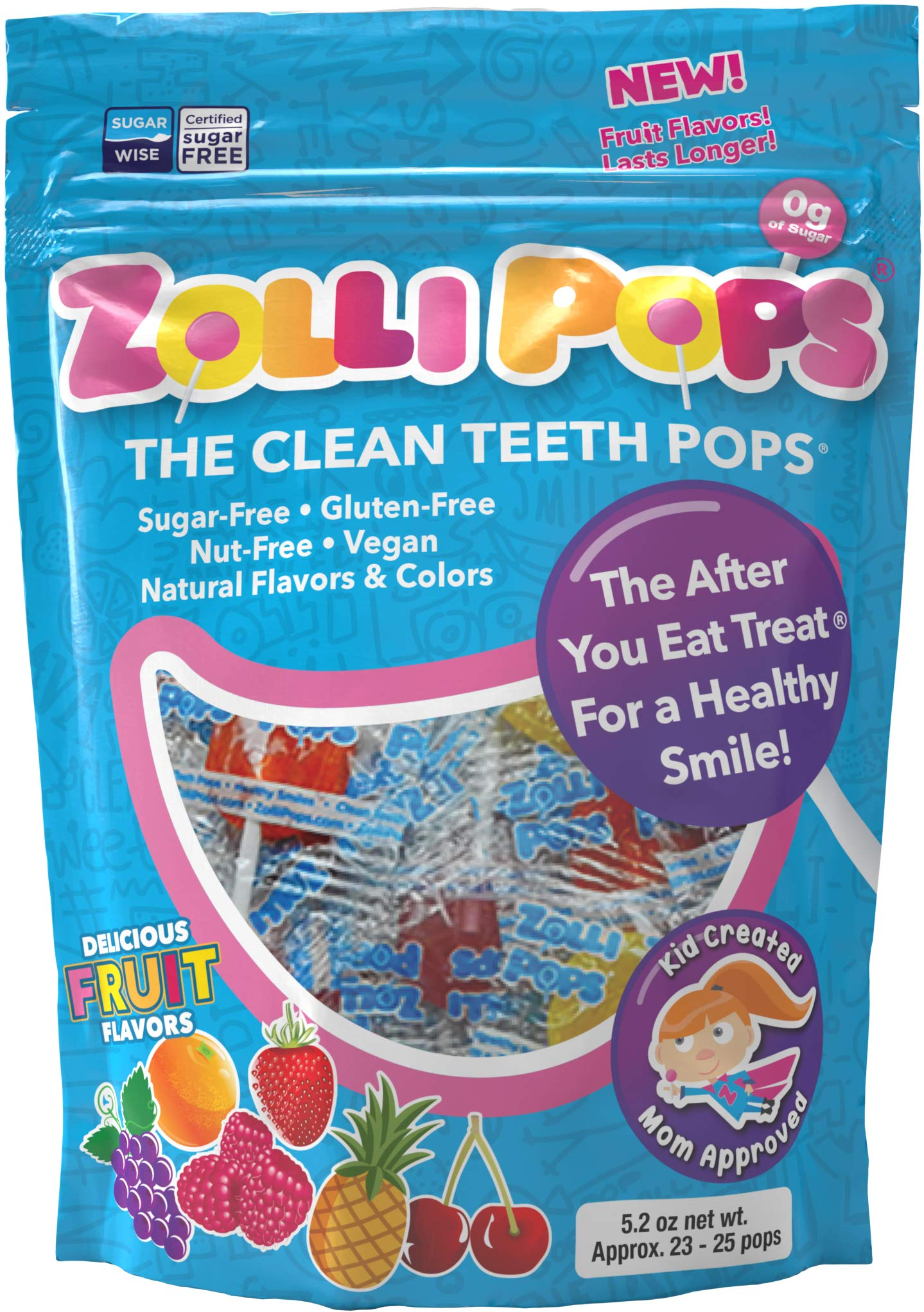 Zollipops The Clean Teeth Pops, Anti Cavity Lollipops, Delicious Assorted Flavors, Variety, 25 Count