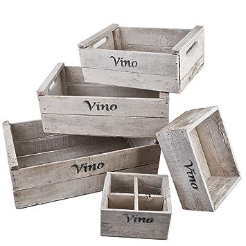 Used Design | Amazon De Dadeldo Holzkisten 5er Set Vino Wein Motiv Vintage Used