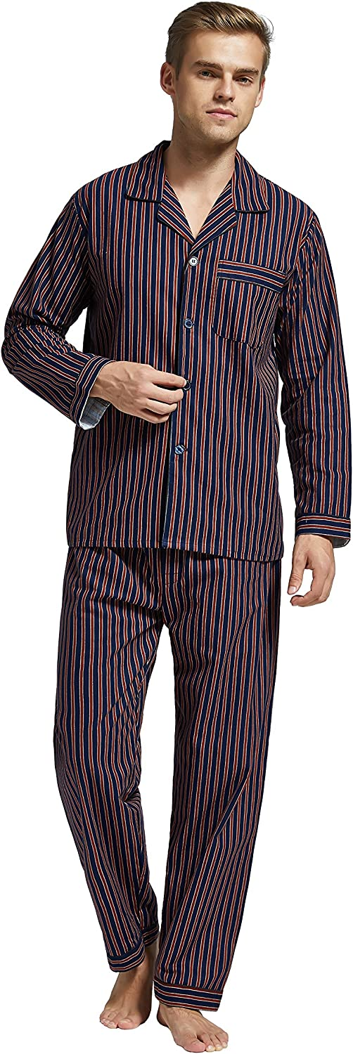 TONY AND CANDICE Men's Flannel Pajama Set, 100% Cotton Long Sleeve Sleepwear