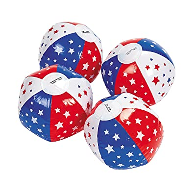 Fun Express - Mini Patriotic Star Beach Balls for Fourth of July - Toys - Inflates - Mini Beach Balls - Fourth of July - 12 Pieces: Toys & Games