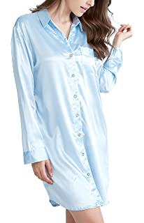 434ebef90290b1 Nachthemd Damen, Satin Nachtkleid Langarm Nachtwäsche mit Knopfleiste  Schlafhemd Freizeitkleidung