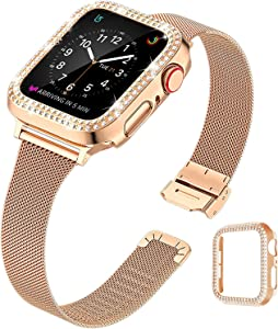 QVLANG Compatible Apple Watch Band 40mm Series 6/5/4/SE, Stainless Steel Mesh Metal Soft Thin Replacement Wristband for Women Girls + Bling Case for iWatch (Rose Gold, 40mm)
