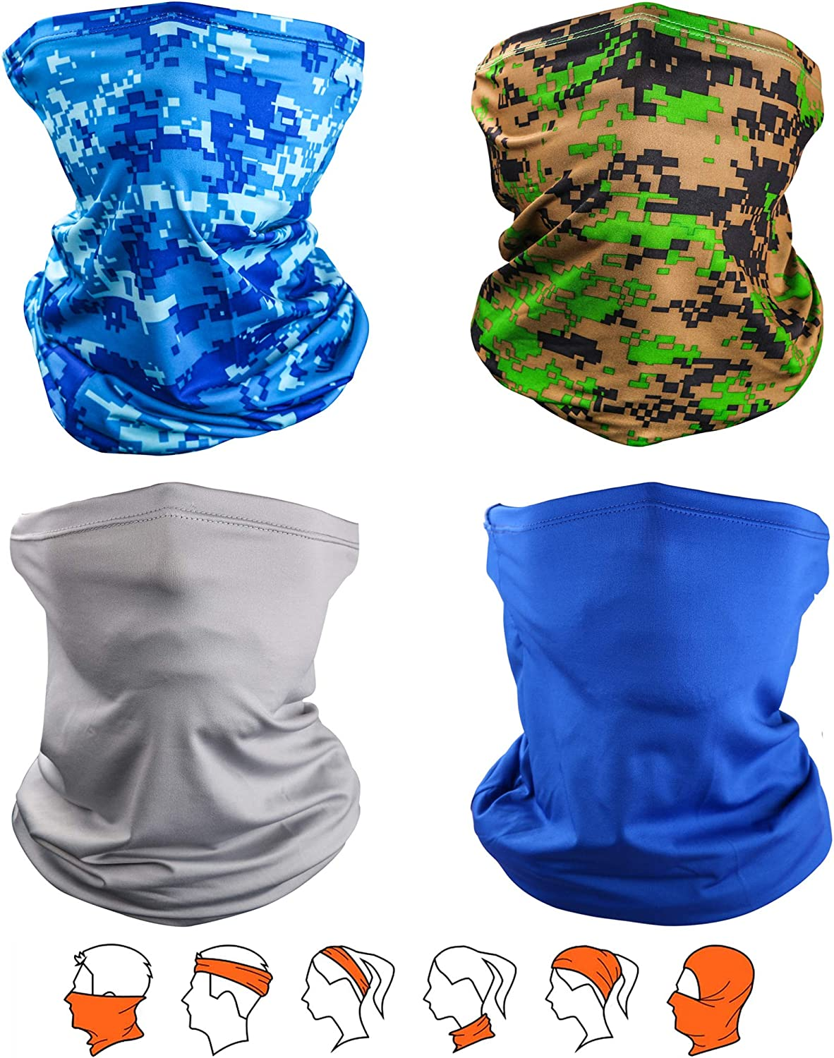 Yemo [4 Pack] Unisex Sun UV Protection Cooling Face Scarf Cover Mask Neck Gaiter, Headband Fishing Mask, Reusable Breathable Bandana Balaclava, Motorcycle Face Cover for Men Women