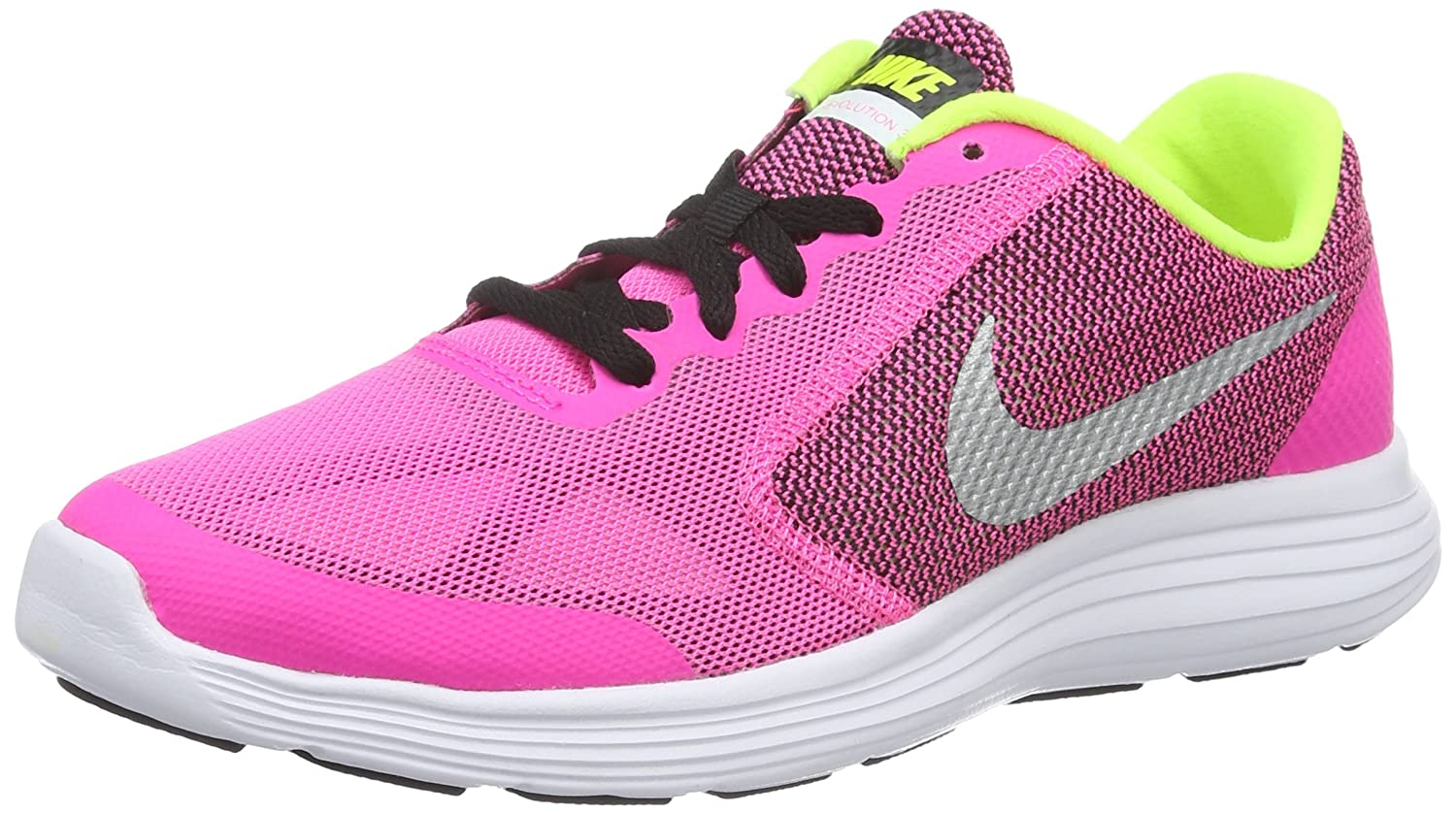 NIKE ' Revolution 3 (GS) Running Shoes B018IPY1NU 7 M US Big Kid|Pink Blast/Metallic Silver/Black/White