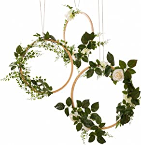Ling's moment Hoop Wreath, Greenery Wreath Wedding Decor Floral Wreaths Set of 3, Rustic Wedding Backdrop Nursery Decor Greenery Decor Boho Hula Wedding Decoration Artificial Flowers Garland