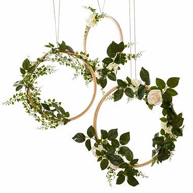 Ling's moment Hoop Wreath, Greenery Wreath Wedding Decor Floral Wreaths Set of 3, Rustic Wedding Backdrop Nursery Decor Greenery Decor Boho Hula Wedding Decoration Artificial Flowers Garland