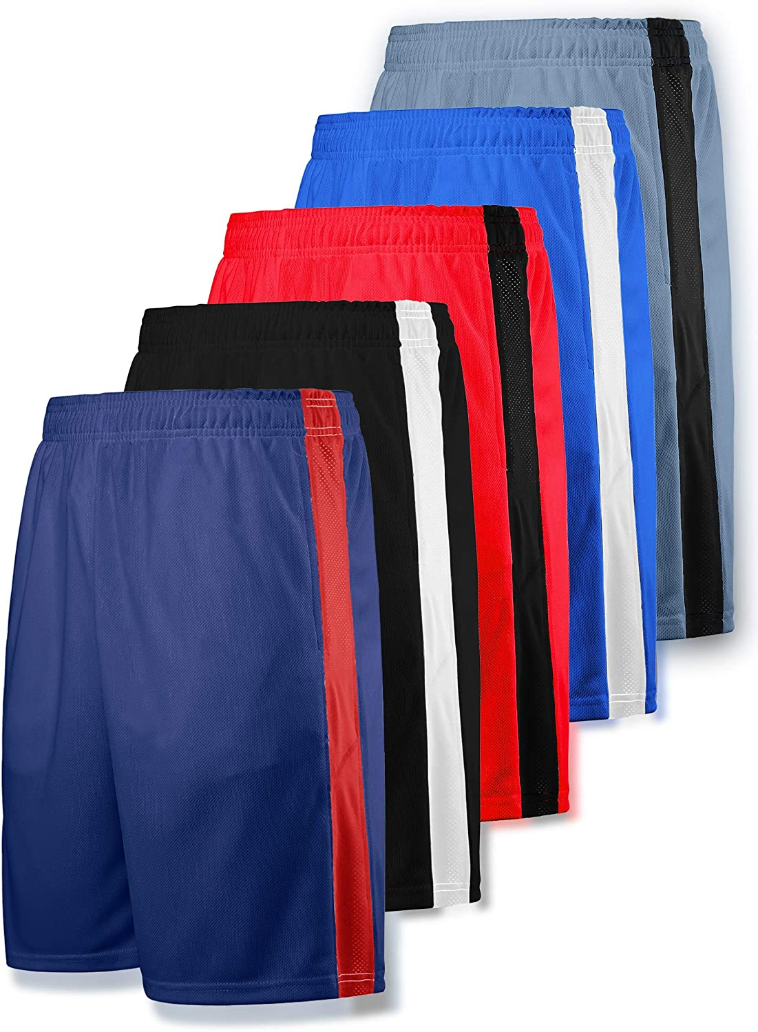 Liberty Imports Pack of 5 Mens Athletic Basketball Shorts Mesh Quick Dry Activewear with Pocket