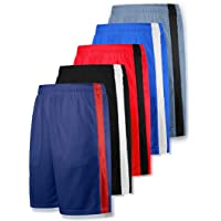 Liberty Imports Pack of 5 Men's Athletic Basketball Shorts with Pockets Mesh Quick Dry Activewear