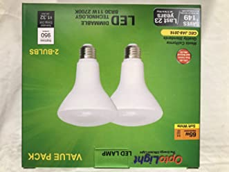 Pack of 2 OptoLight 11W 65W BR30 Dimmable Replacement