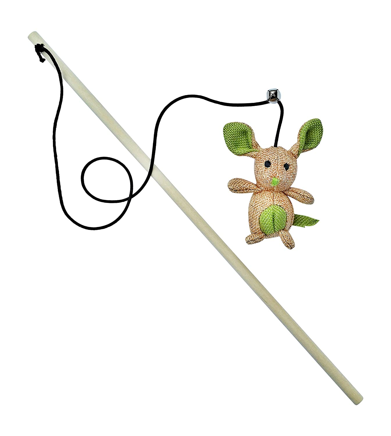 Cat Toy with Wand and Catnip Mouse with Bell on Elastic String - by 3Cats
