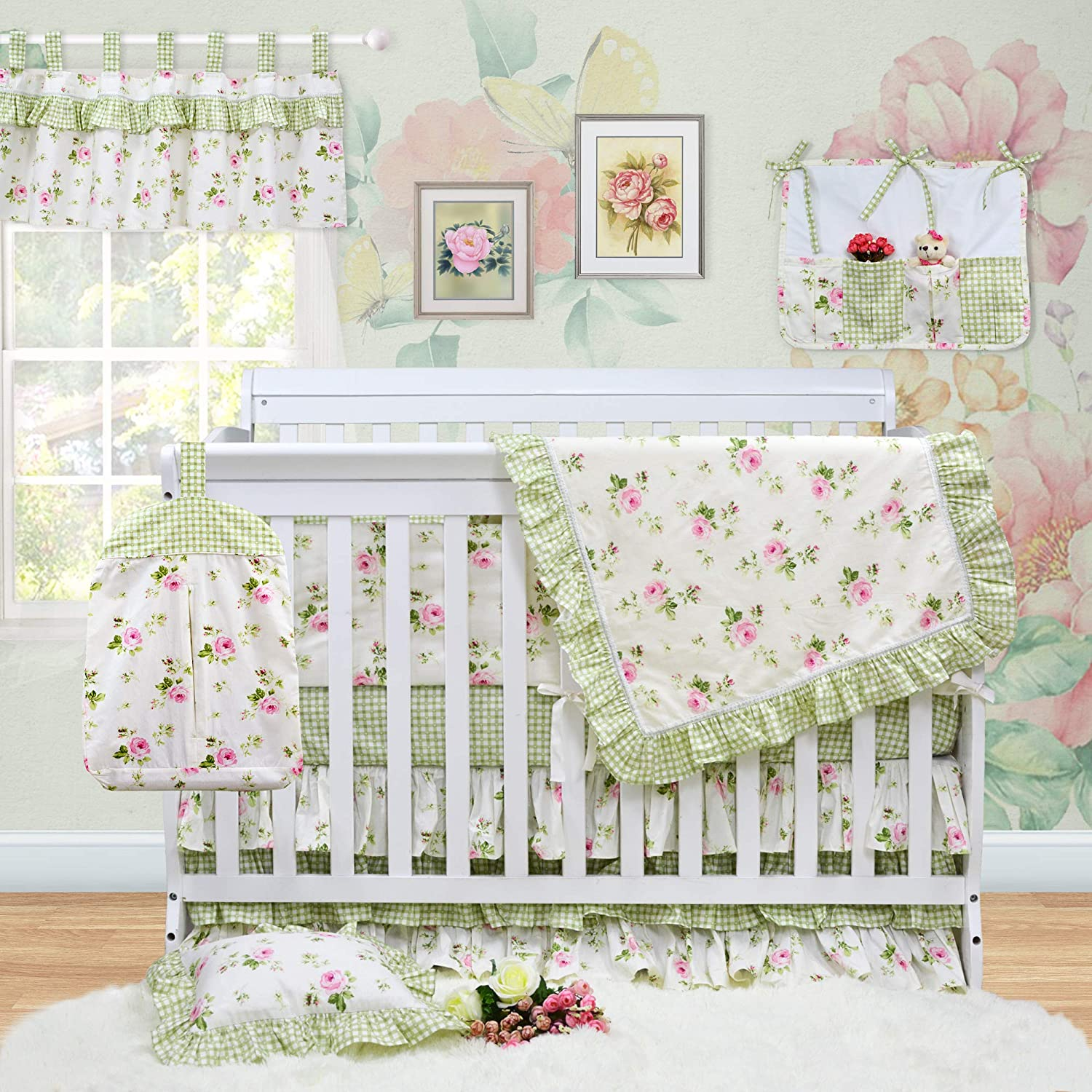 Brandream Floral Crib Bedding Sets for Girls with Bumpers Fairy Tale Charming Baby Nursery Bedding Green 100% Cotton, 11pcs Ideal