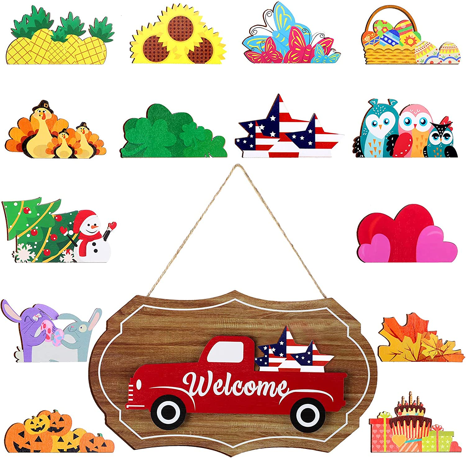 Interchangeable Seasonal Welcome Sign Vintage Truck Decor Door Sign Wall Hanging Decorations for Valentines, Easter, Independence Day, St. Patrick's Day Welcome Sign Front Door Decor 12.8 x 7.5 Inch