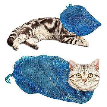 Pawaboo Bolso de la Preparación del Gato, Cat ajustable Bolsa de Contención de Malla de