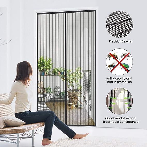 Adapta al Tama/ño de la Puerta hasta Negro Pantalla Magn/éTica Cortina de Fibra de Vidrio de Primera Calidad CHENG Cortina Mosquitera para Puertas 145x200cm Velcro Adhesiva