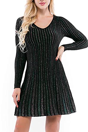 6352b8266 Women Fit Flare Knit Sweater Dress - Skater Work Dress Pullover ...