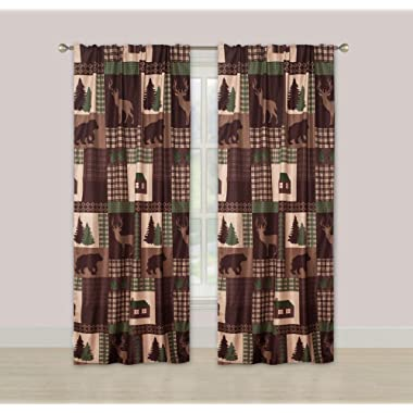 HowPlumb Rustic Cabin Window Curtains Panel Pair Drapes Lodge Deer and Bear 84-in.