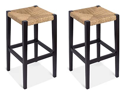 2236781b652 Amazon.com  BIRDROCK HOME Woven Rush Backless Barstools (Set of 2 ...