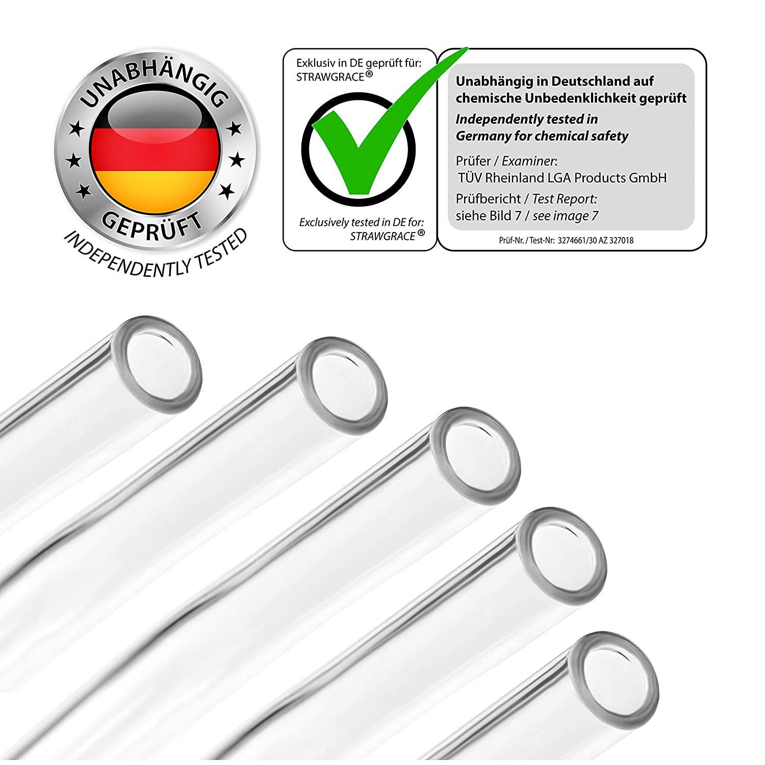 Reusable Free of BPA StrawGrace/® Handmade Glass Straws Bent - 23 cm x 10 mm independently tested in DE Glass Drinking Straws Healthy Set of 5 with Cleaning Brush Ideal for Smoothie etc