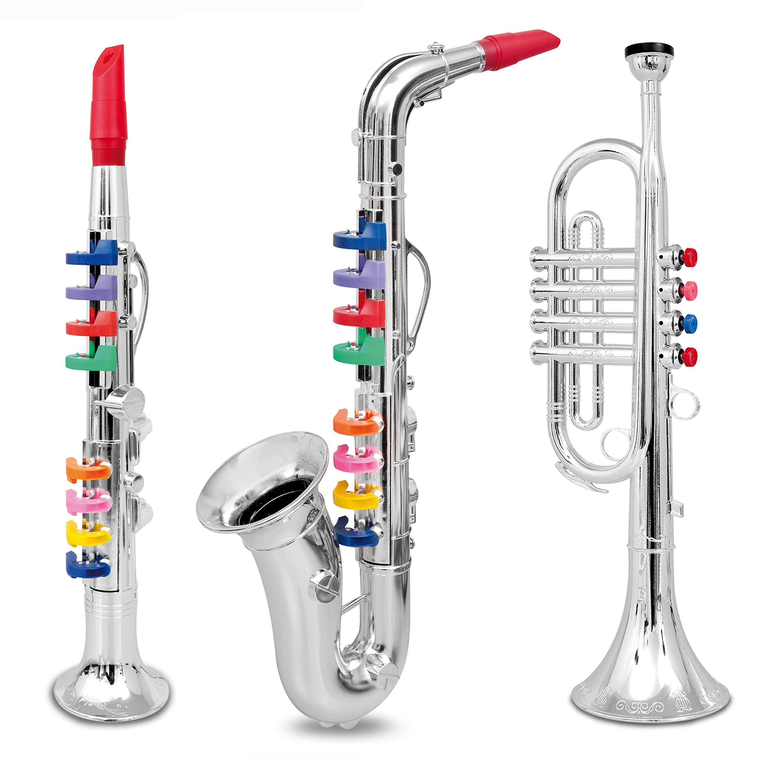 Set of 3 Music 1. Clarinet 2. Saxophone 3. Trumpet, Combo with over 10 Color Coded Teaching Songs Made in Italy. by First Note USA