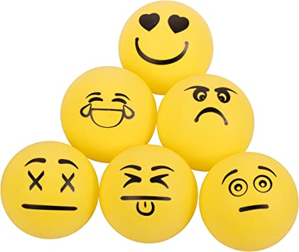 Emoji Ping Pong Balle 40 mm 6 Per Pack