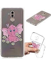 Everainy Huawei Mate 20 Lite Hülle Silikon Transparent Gummi Cover Hüllen Kompatibel für Huawei Mate 20 Lite Handyhülle Stoßfest Durchsichtig TPU Stoßstange Schutzhülle (Elefant)