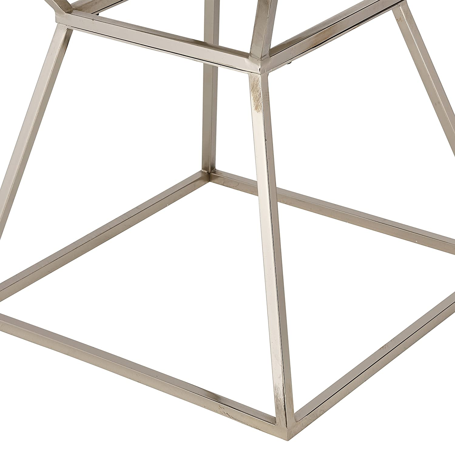 Rivet Modern White Marble and Metal Side End Table Nightstand, 18 W, Silver Marble